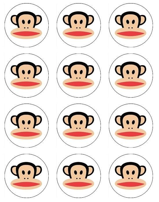 Paul Frank Julius edible image cupcake toppers 12 Paul Frank's Julius Monkey toppers for cupcake or cookies. $6.50, via Etsy.