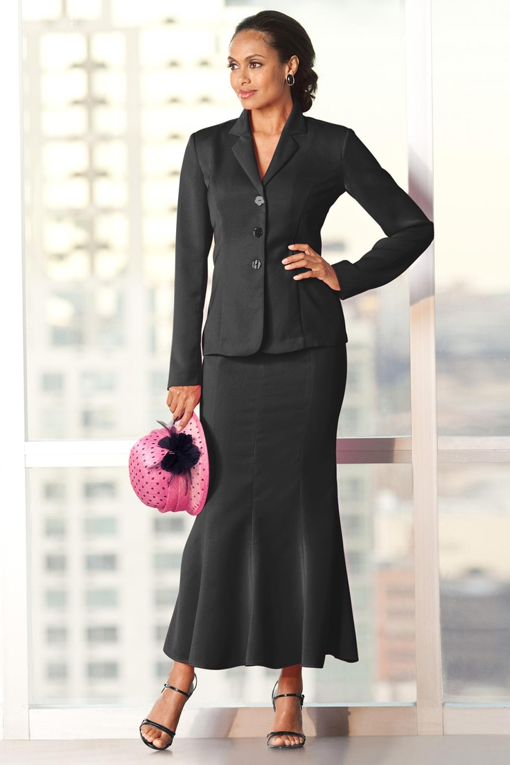 Finally! A proper business suit with a modest skirt. Love ...