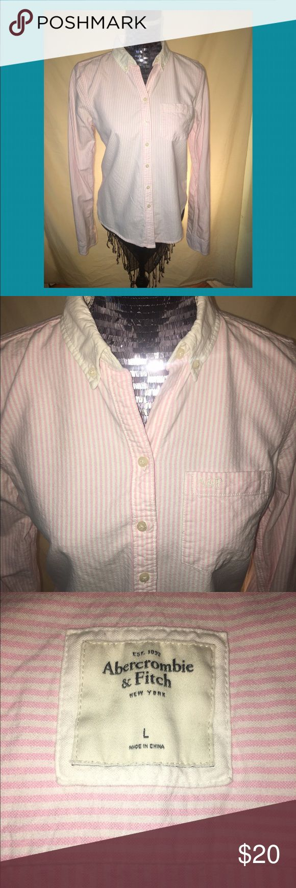 Abercrombie & Fitch pink striped button down top Pink and white pinstriped button down oxford shirt by Abercrombie & Fitch. Great condition. Very feminine. Abercrombie typically runs on the smaller side, so probably not for a busty woman. Abercrombie & Fitch Tops Button Down Shirts