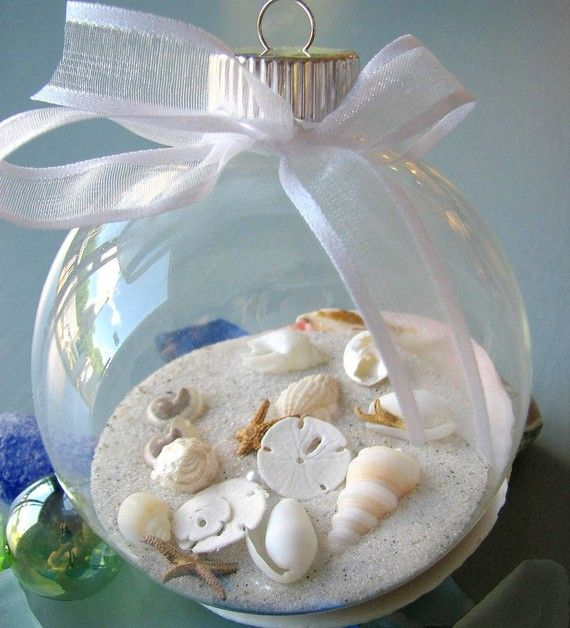 Seashell Christmas Ornament- great idea to take a little sand and shells from the beaches u have visited.  Lable the ornament with the location and year