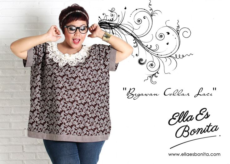 Begawan Collar Lace - This collar lace shirt features high quality batik cotton which specially designed for sophisticated curvy women originally made by Indonesian Designer & Local Brand: Ella Es Bonita. Available at www.ellaesbonita.com