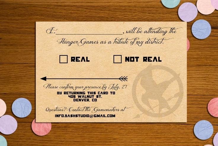 Hunger Games Printable RSVP Card. via Etsy.