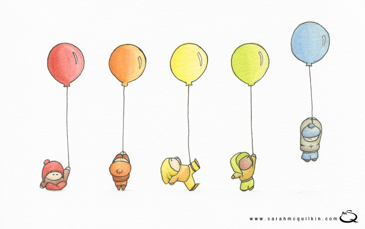 Sarah McQuilkin Illustration - Kids with Balloons
