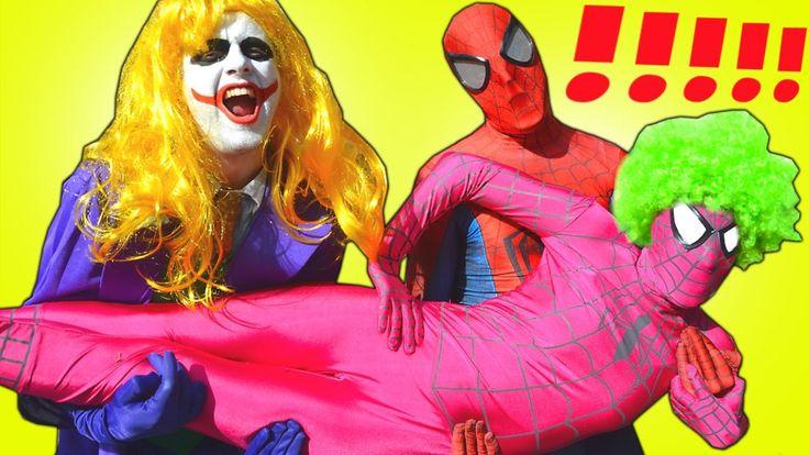 Spiderman vs JOKER CRAZY PRANKS! w/ Pink Spidergirl Frozen Elsa SUMO Bat...