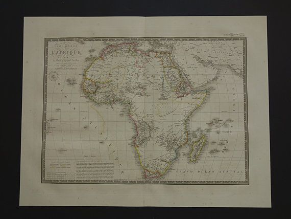 AFRICA antique map 1828 LARGE beautiful old by DecorativePrints