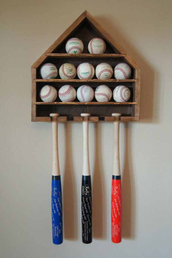 Baseball Shelf Display Ball and Mini Bat Wall Hanging Storage Display