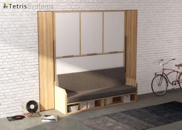 Sofá cama abatible 190 x 90 VERSATILE con armario.