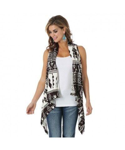 Wrangler Premium Sweater Vest Printed - Ivory/Brown