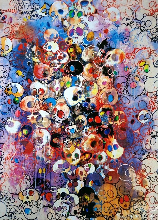 Takashi Murakami Prints for sale - I have left my love far behind... Their smell, every Memento  More info: https://www.artetrama.com/en/artworks/takashi-murakami-i-have-left-my-love-far-behind-their-smell-every-memento  #artetrama #takashimurakami #skulls