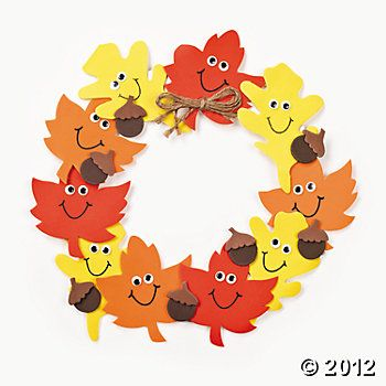 Thanksgiving decorations activity >> Foam Smile Face Leaves Wreath Craft Kit
