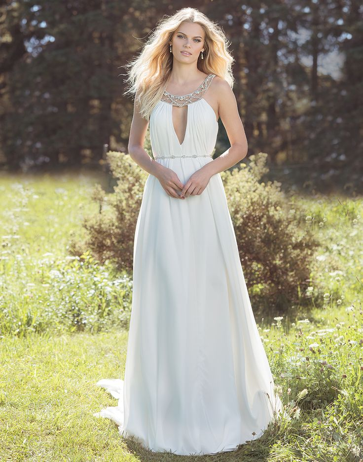 COMING SOON! 6500 Ivory/Silver/Nude Size 10 Comfortable kaftan style dress with Grecian beaded illusion collar and plunging neckline brings a modern etheral look to your wedding day. Chiffon shift skirt creates effortless movement.  https://www.lillianwest.com/lillian_west/6500