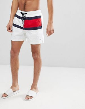 f5ce3d0bc6ee2 Tommy Hilfiger Medium Drawstring Large Icon Flag Swim Shorts in White