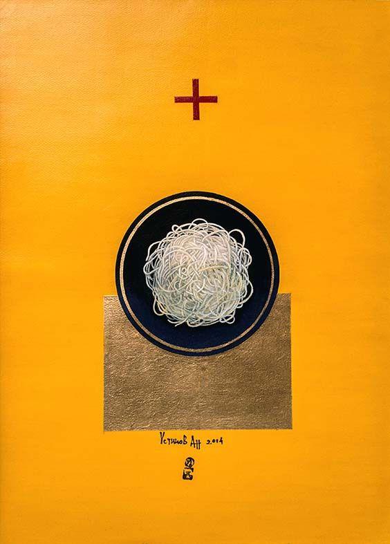 Italian happiness 75x55 cm, p.,acryl, gold leaf