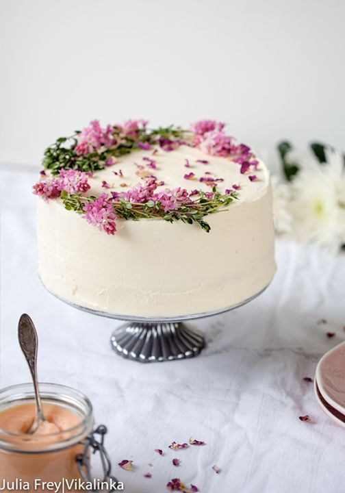 Nothing is better at making dinner parties or celebrations more special than this recipe for Rose Rhubarb Layer Cake. To complement the floral flavor, try serving it alongside a robust iced coffee drink.