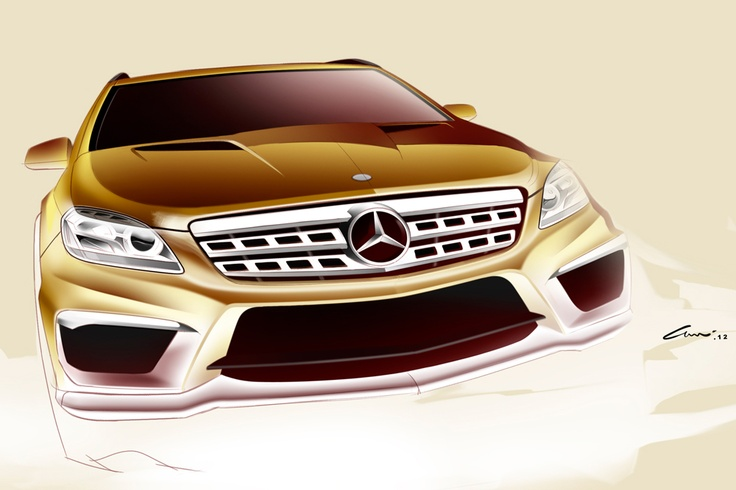A second design sketch of the ML 63 AMG - In this stage the designer tries to keep the sketches as emotional and abstract as possible.