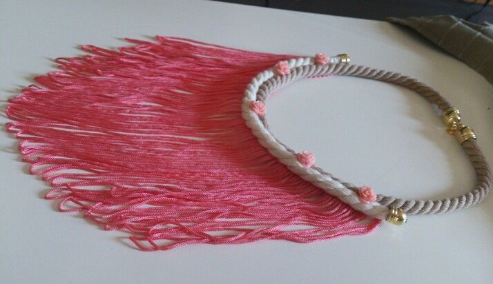 Handmade pink long necklace with tassel and roses