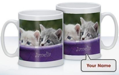 Personalised Peeking Kittens Mug - Treat that cat lover to a mug complete with their name on! Choose a name and it will appear alongside the image of adorable cats. #CatGifts #Cats #Animals #PersonalisedGifts #PersonalisedMug £10.99