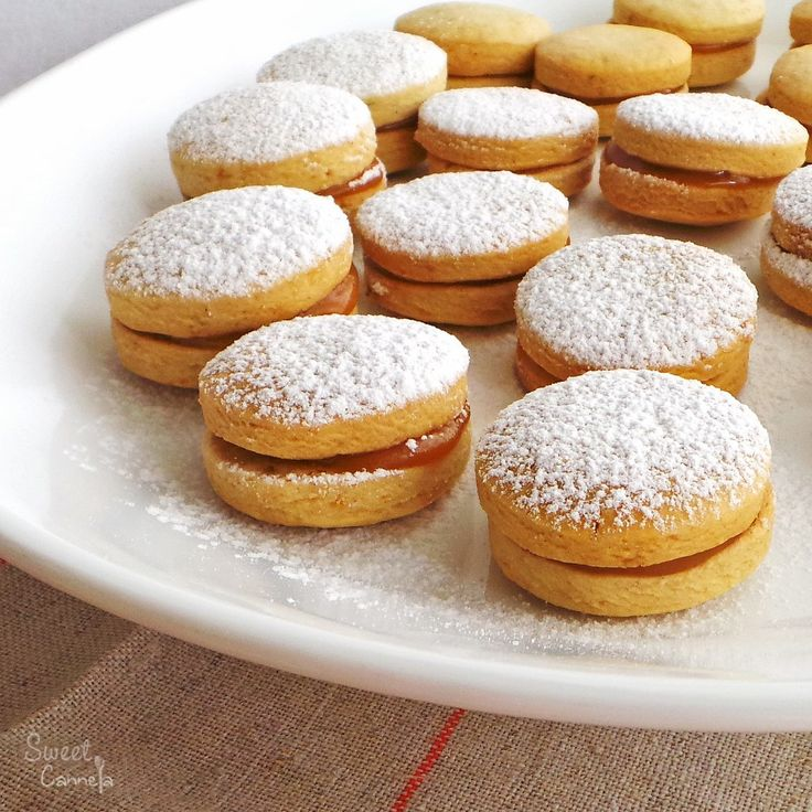 Alfajores. A delicious and traditional South American dessert. Two shortbread-like cookies filled with dulce de leche.