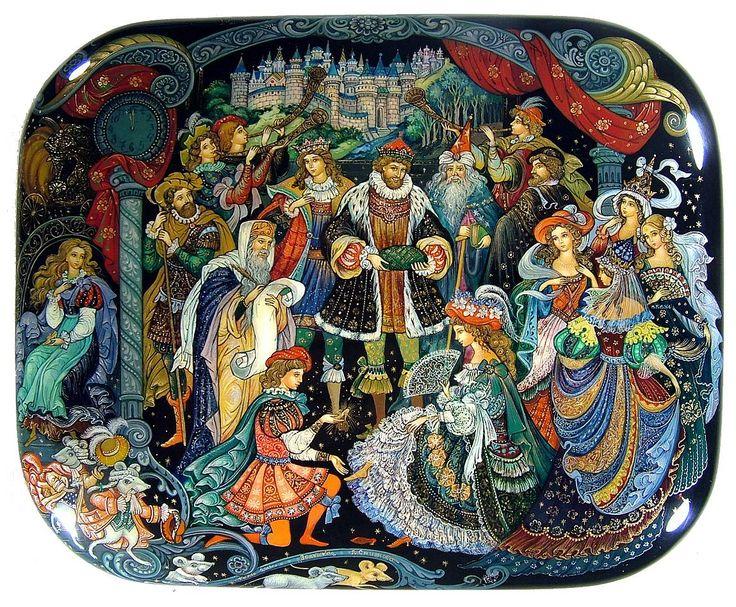 """Cinderella"", Palekh (Russian Lacquer art), by Vera Smirnova."