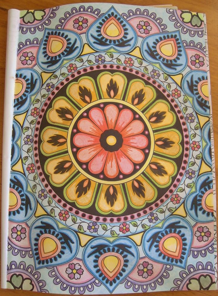 First design I've coloured in from #arttherapymag - just loved the pattern of this design