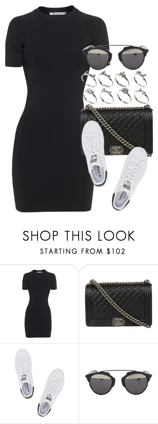 """""""Style #10007"""" by vany-alvarado ❤ liked on Polyvore featuring T By Alexander Wang, Chanel, adidas Originals, Christian Dior and ASOS"""