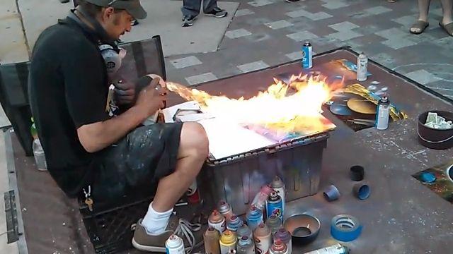吹きつけて燃やして5分で描く、驚くほどに美しいスピードスプレーペイント