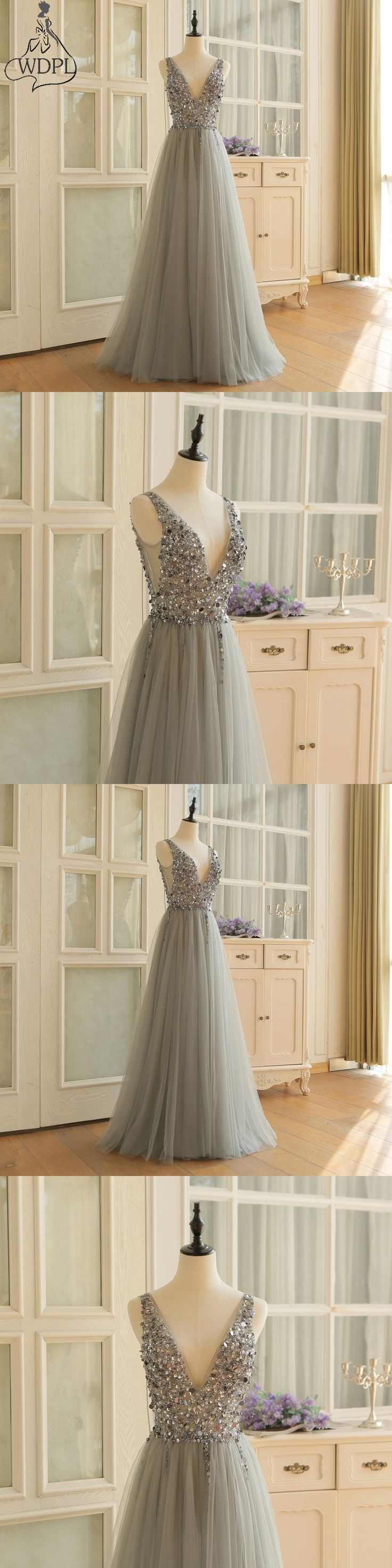 Sexy High Split Long Prom Dresses 2018 Gray Tulle Beaded Formal Evening Dress Spaghetti Strap Sleeveless Vestidos Para Festa