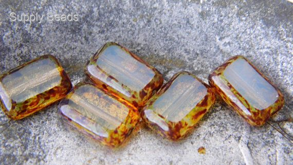 Champaign Rectangle Beads Czech Beads Beads by SupplyBeads on Etsy