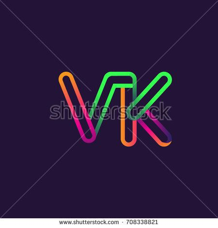 initial logo letter VK, linked outline rounded logo, colorful initial logo for business name and company identity.