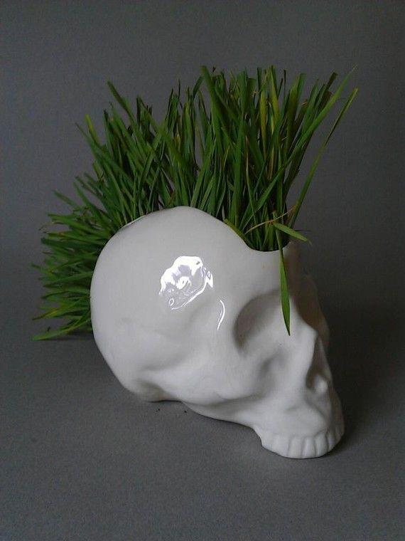 Pot de fleur céramique crâne punk