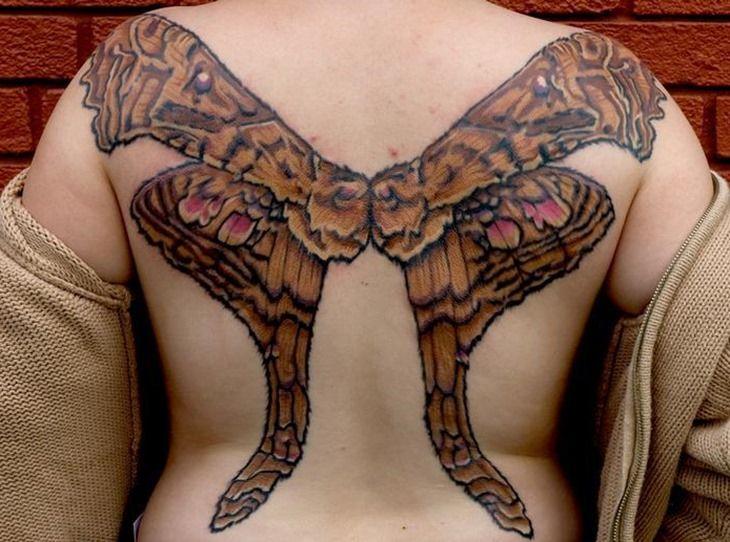 Cool Moth Wings Tattoo on Back | Cool Tattoo