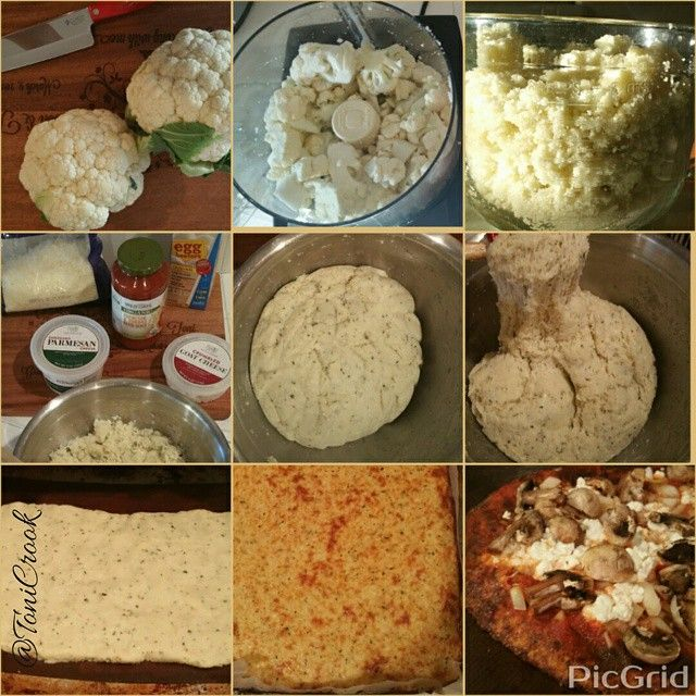 "RECIPE FOR CAULIFLOWER PIZZA CRUST Makes two pizzas. Chop 2 heads of cauliflower and run through afood processor until it looks like rice. You should get about 8 cups worth. Microwave the cauliflower ""rice"" for 10 minutes - do NOT add any water and do NOT cover the dish. Mix in 1 cup parmesan, 1 cup shredded mozzarella, 1/2 cup cottage cheese, 2 egg whites or the equivalent of egg beaters, 1 tsp dried basil, 1 tsp dried oregano, 1 tsp dried rosemary, 1 tsp cracked pepper, 1 tsp garlic powder…"