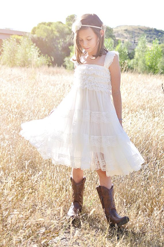 This Vintage Chic Ivory Lace Flower Girl Dress Has A Lace Ruffle Top with Chiffon Tier and Satin CHIC dress can be worn for many occasions! Cap