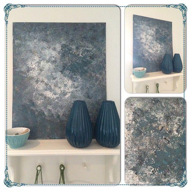 Jeg elsker denne grønnblå fargen!  Dette er lerret på papp 30x50 cm. Gøy å male abstrakt på bestilling og utfra egne ønsker. Det er alltid åpent kjøp på alle malerier, selv på bestillinger #lerret #akrylmaling #maling #maleri #malerier #malerier #paint #paintings #art #abstract #abstractart #abstrakt #acrylic #acrylicpainting #greenblue #bluegreen