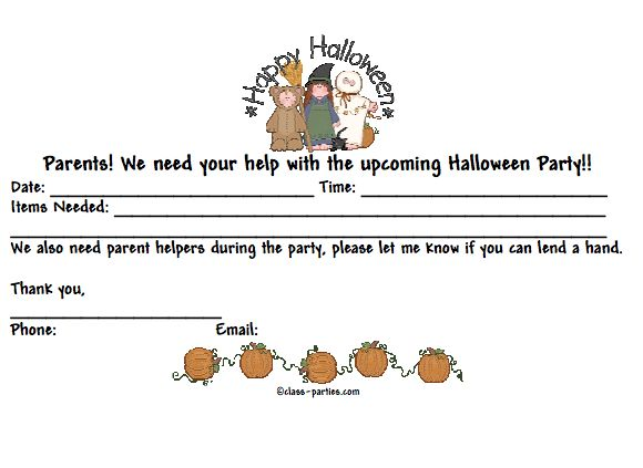 17 best room mom images on pinterest halloween party ideas halloween class party letter to parents download from the pto today file exchange spiritdancerdesigns Image collections
