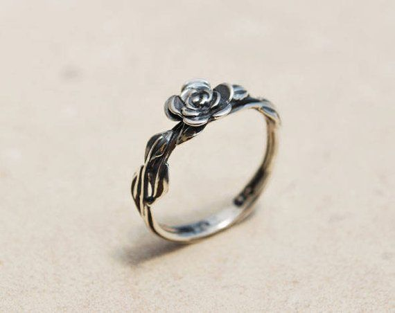 Beautiful Filigree Design with Free Gift Box Rose Flower Ring Sterling Silver 925