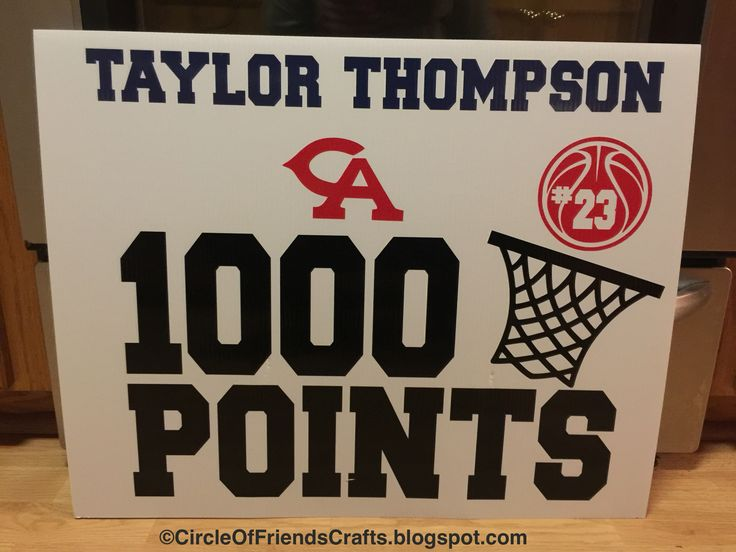 1000 Point Basketball Sign Circle Of Friends Crafts
