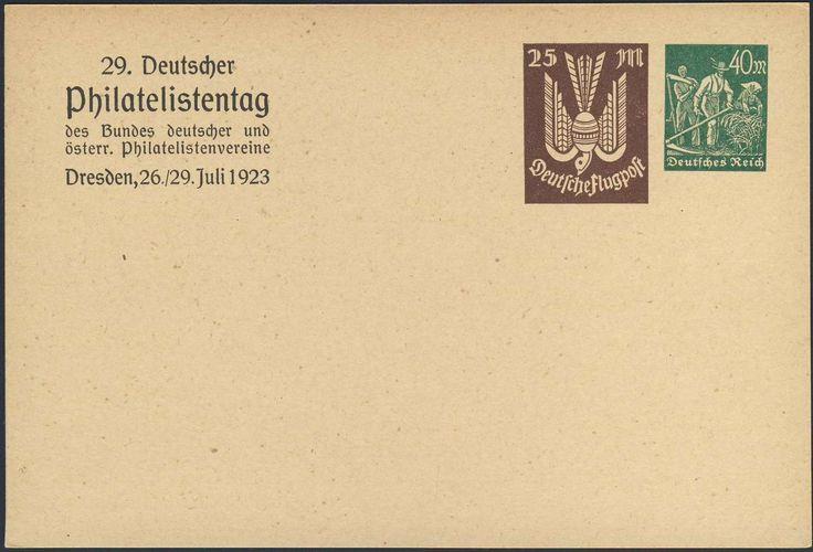 Germany, German Empire, Deutsches Reich 1923, 25 Mk. Holztaube, neben 40 Mk. Arbeiter, GA-Privatpostkarte vom 29. Philatelistentag in Dresden, 26.-29.07.1923, ungebr. (Mi.-Nr.PP74C1). Price Estimate (8/2016): 10 EUR. Unsold.