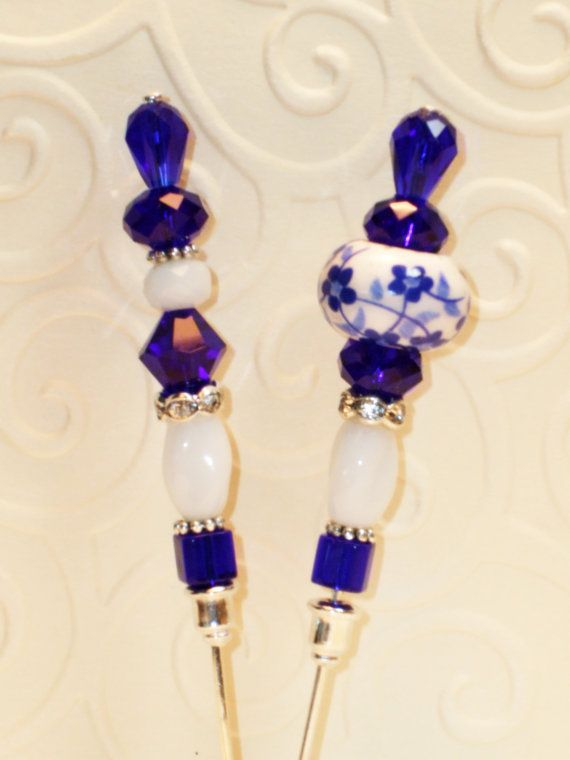 Lovely Crystal and Ceramic Vintage Style Stick Pin ♥ by joannalaj