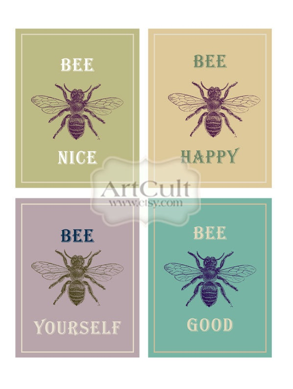 BEE QUOTES - Digital Collage Sheets Printable Greeting Cards Scrapbooking Art Cult 3.5x4.5 inch size images. $4.90, via Etsy.