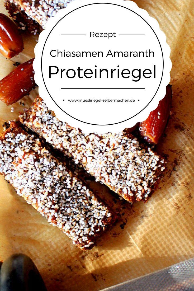 Rezept für vegane Proteinriegel. Diese Chiasamen Amaranth Riegel sind perfekt als Snack nach dem Sport, da sie viel Protein besitzen. Das genaue Rezept verrate ich dir hier: http://www.muesliriegel-selbermachen.de/chiasamen-amaranth-riegel/