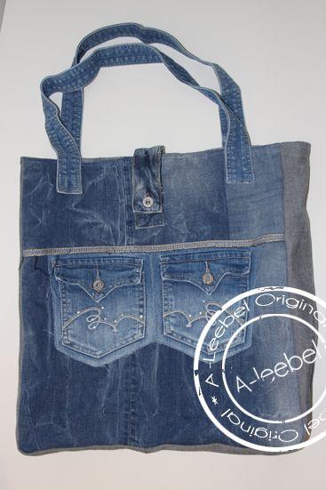 Handige stevige jeanstas, volledig gevoerd. Made by A-leebel.nl