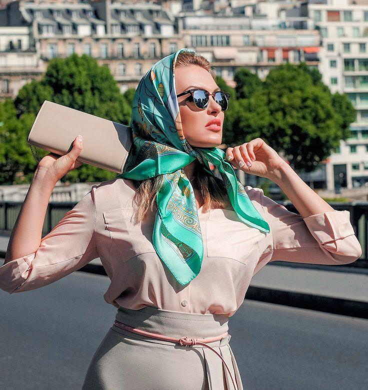 Green silk headscarf