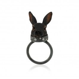 Moon Rabbit Ring - Handcrafted Danish Design. Do you remember the tale of the rabbit who lives on the moon? This beautiful and playful Moon Rabbit ring from Mette Norby Thomsen is inspired by this celebrated fairytale. With its plastic rabbit head, set in an oxidised sterling silver ring with 0.18-carat diamonds set into its collar, this piece of jewellery is truly a piece of art that tells a beautiful story. http://www.nuuru.com/en/moon-rabbit.html