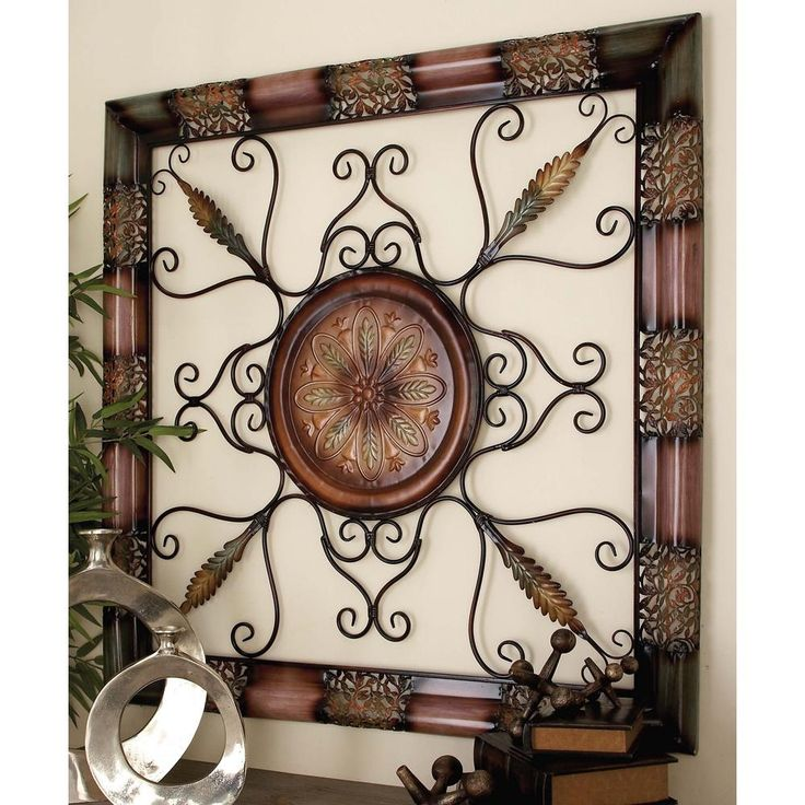 45 In X 45 In Old World Metal Wall Decor With Floral Medallion Multi Metal Tree Wall Art Tuscan Wall Decor Wall Art Plaques