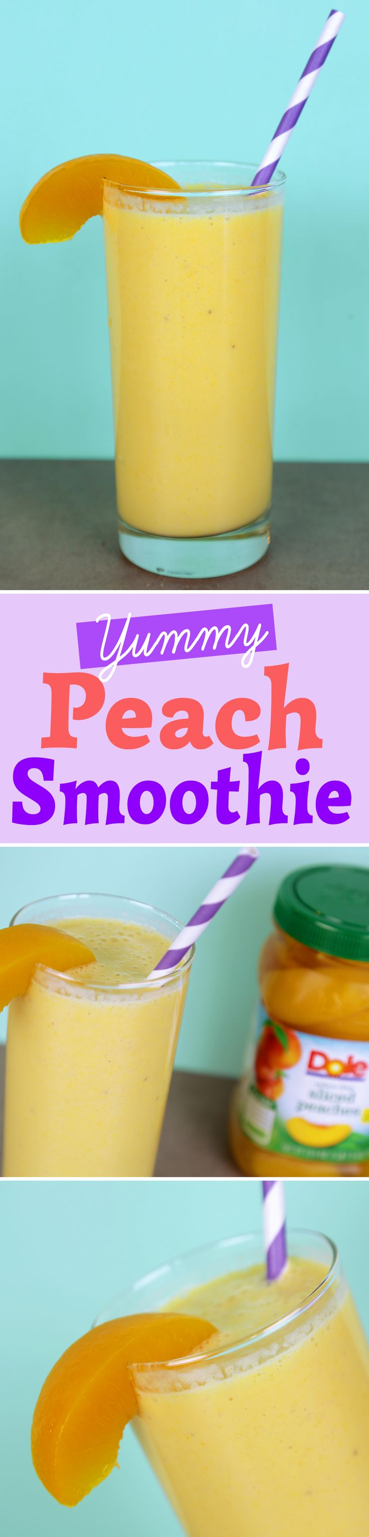 What ingredients do you need to make the easiest and yummiest Peach Smoothie of all time? DOLE® Jarred Peaches, a banana and some yogurt. That's it!
