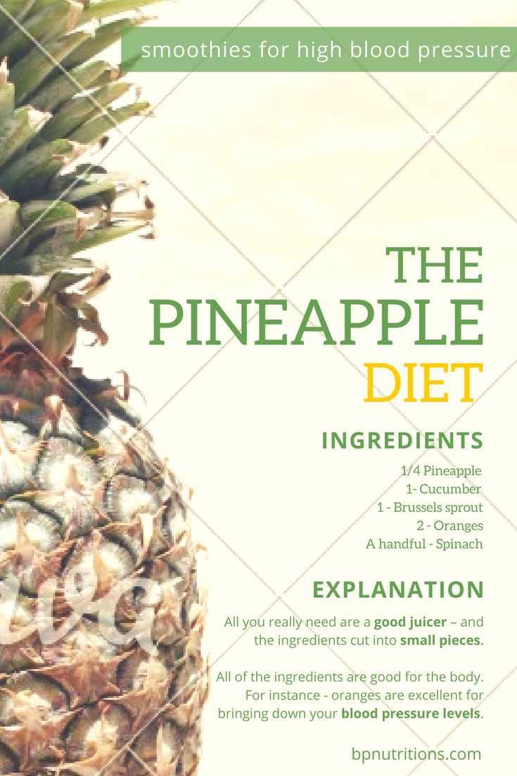 Pineapple Diet for High Blood Pressure.  Here are the ingredients, and you must already be knowing the method of preparation. All you really need are a good juicer – and the ingredients cut into small pieces.   Pineapple – 1/4th of the fruit ( depending on the size )  Cucumber – 1  Brussels sprout – 1 sprout Oranges – 2  Spinach – a handful   All of the ingredients are good for the body – and certain, like the oranges are excellent for bringing down your blood pressure levels.
