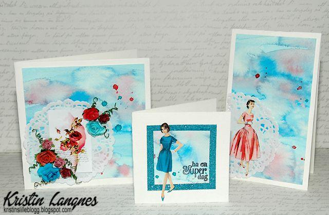 Jeg har laget 3 enkle kort med bakgrunner laget med van Gogh sine akvarellfarger . Motivene på kortene er fra Kristie Art Design . ...