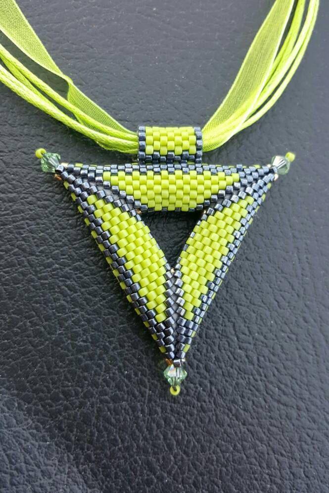 Peyote Necklace. Triangle Necklace. Trinity Necklace.