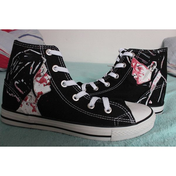 My Chemical Romance Shoes ($67) ❤ liked on Polyvore featuring shoes, converse, my chemical romance, lullabies, sneakers, black shoes, elastic shoes, waterproof shoes, kohl shoes and water proof shoes